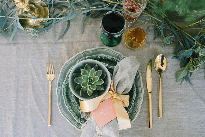 Gold wedding cutlery with plants   Modern Winter Wedding Style   Linda-Pauline Photography