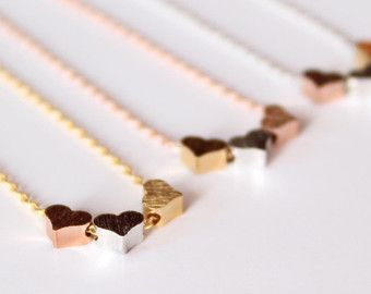 3 hearts necklace tiny three hearts gold silver rose by MissDiary