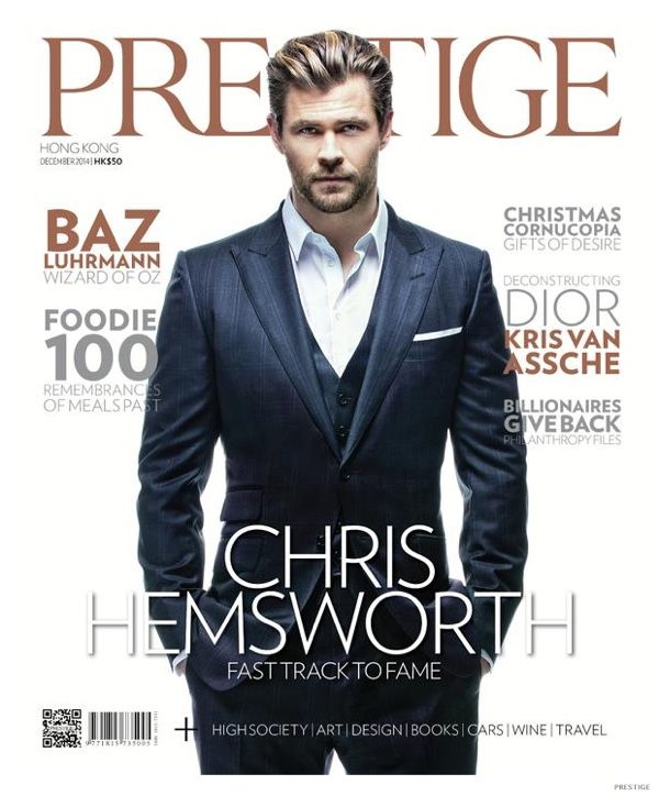 Hot on the heels of being named People's 'Sexiest Man Alive', Thor actor Chris Hemsworth covers the December 2014 issue of Prestige Hong Kong. Just in time for the holiday season, Hemsworth is dressed to impress with a dapper photo shoot, featuring smoking jackets and an abundance of impeccable fits. Discussing the anticipated Avengers: Age of Ultron movie, Hemsworth talks about growing the character of ...
