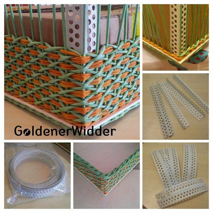 Плетение из газетных трубочек: Приспособление для удобства, ровный угол, ровное плетение.