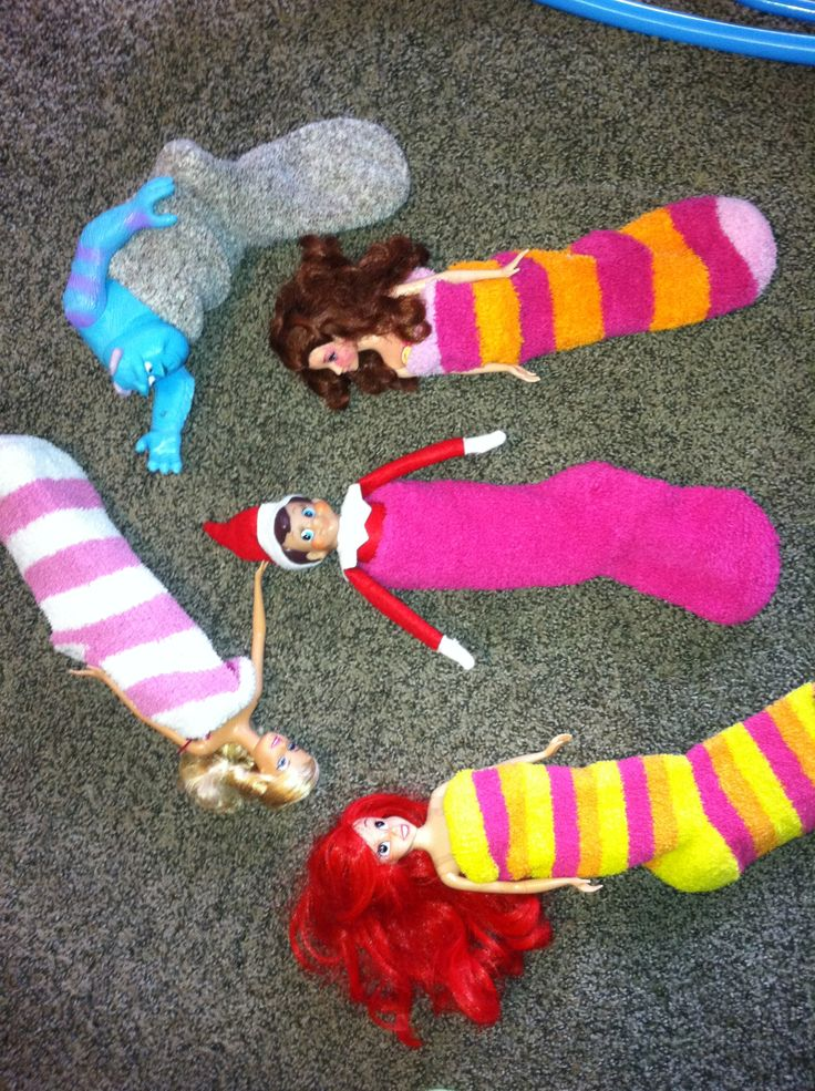 Elf on the Shelf slumber party with the ladies ... Would work with stuffed animals too, since I have all boys.