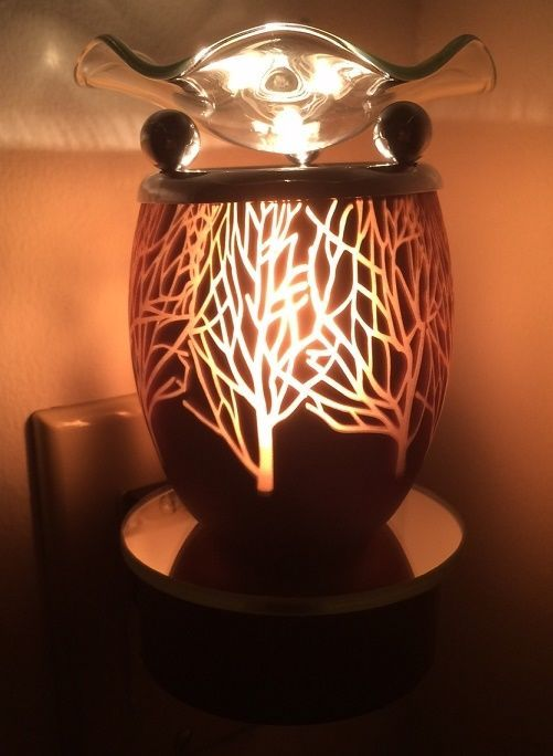 Brown Glass Forest Tree  PLUG-IN electric scented oil warmer burner wall outlet #Unbranded