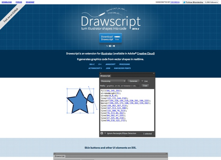 drawscript convert illustrator shapes into code obj c c javascript createjseaseljs processing actionscript json raw bezier points