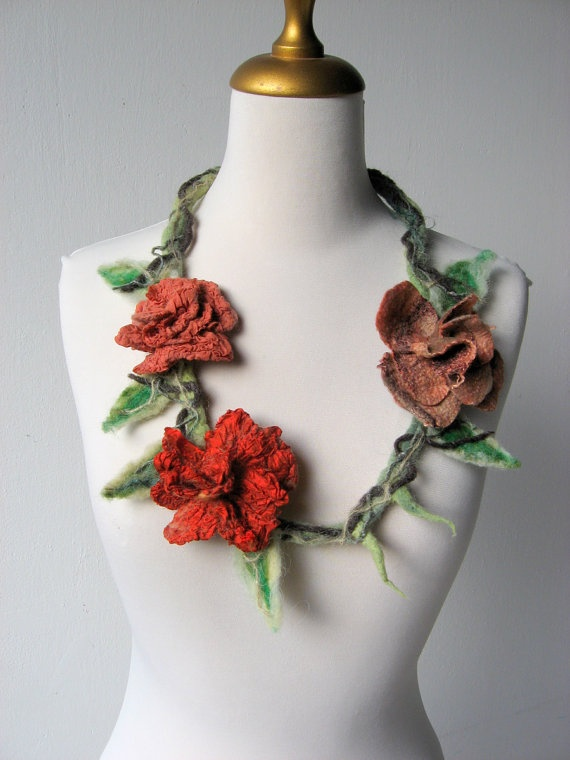 Felted Flower Necklace for Faeries Red Rusty and by realfaery