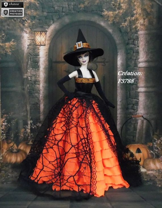 """Robe Barbie """" Halloween N°8 """" Vêtement sorcière d'Halloween pour poupée Barbie Silkstone Fashion Royalty Muse f3788"""