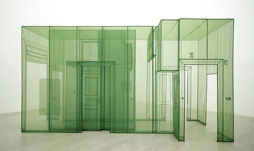 Do Ho Soh art installation; Transparent polyester fabric over wire frame; fabric structure.