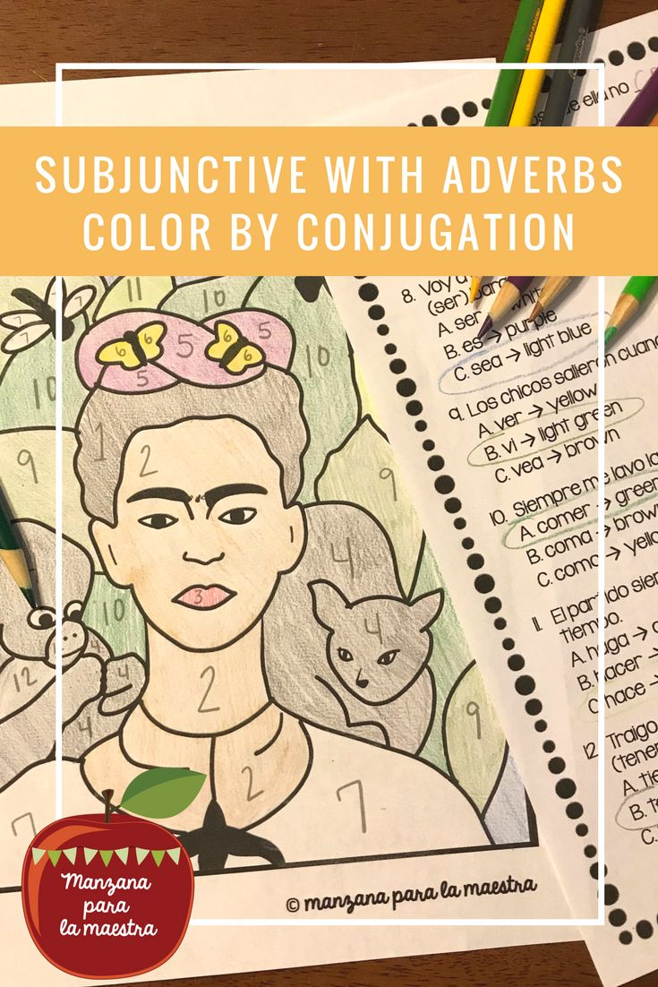 Spanish Subjunctive with Adverbs color by conjugation ...