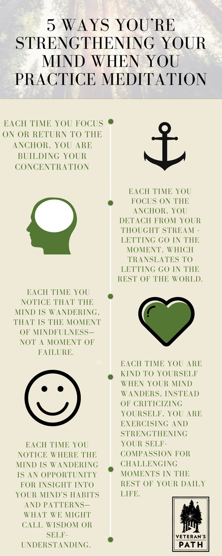 5 ways to strengthen your mind when you practice meditation.   veterans // meditation // mindful // mindfulness // journey forward // vets // military // usmc // usn // usaf // us army // uscg // army // army strong // Marines // marine corps // us marine corps // navy // us navy // air force // coast guard // military life // freedom // marine // veteran // armed forces // support our troops // inspiration // healing from trauma // pts // mst // resilience