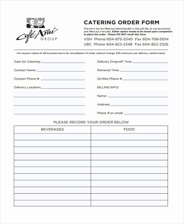 Restaurant Food Order Form Template Unique Free 9 Catering Order Form In Sample Example Format Order Form Template Order Form Template Free Templates