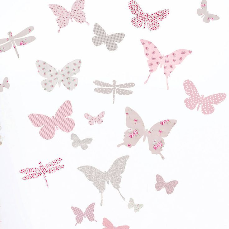 Butterfly wall stickers made with a range of floral, gingham check and polkadot fabric patterns.The design is available in 2 colourways: 'vintage pink & aqua' or 'vintage pink & warm grey'. Buy one set to decorate a small wall or buy two sets at a special price to cover a larger area. The stickers are easily applied - just peel and stick to walls, windows, tiles etc. And while most wall stickers are made of vinyl, ours are made of fabric adhesive so they can be removed, repositioned and…