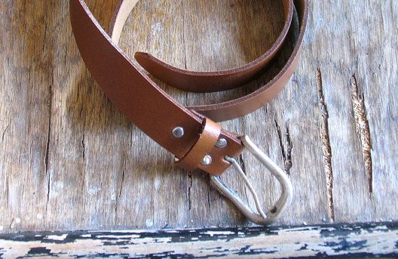 Vintage Leather Belt Unisex brown belt Silver metal by artwardrobe, $25.00
