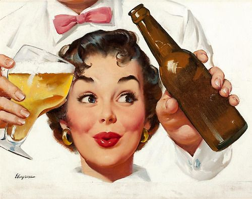 Lovely Girls Who Love Beer — Illustration by Gil Elvgren