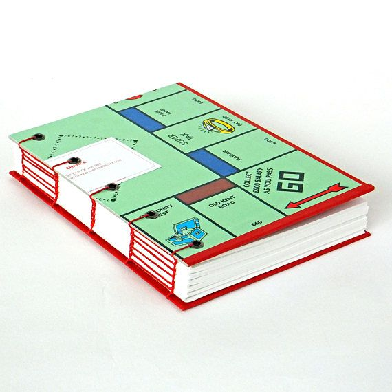 London Monopoly journal up-cycled Monopoly notebook recycled