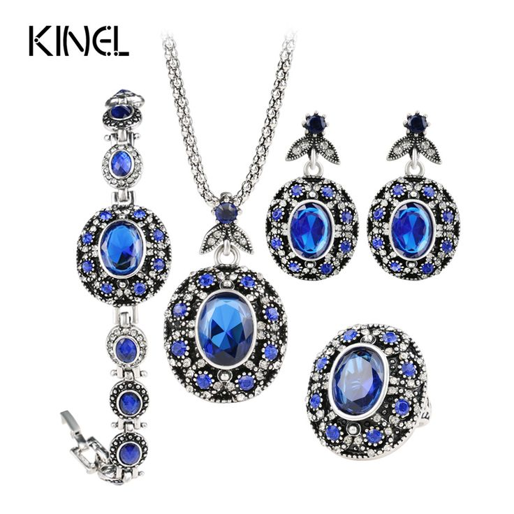 4pcs/Sets Fashion Plating Silver Vintage Turkey Jewellery Blue Pendant Necklace Ring Earring Bracelet For Women Party Gift