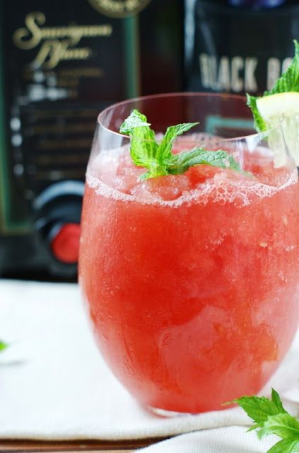 Watermelon-Moscato Slush ... grab a big ol' juicy watermelon and some semi-sweet white wine for whipping up this refreshing summer fun.  www.thekitchenismyplayground.com  #BlackBoxWines