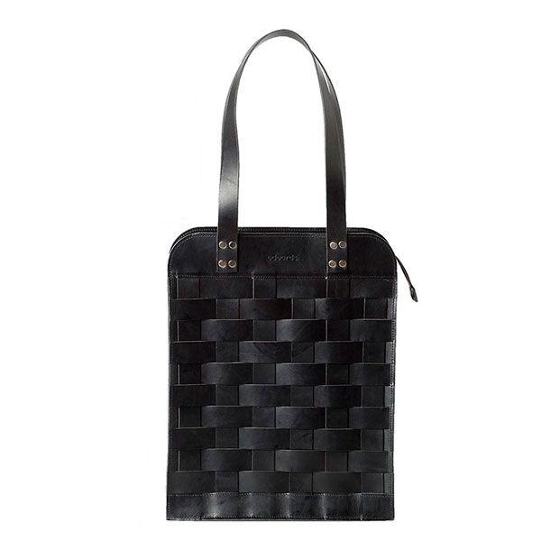 Eduards - Big Leather Shoulder Bag Black   ENIITO