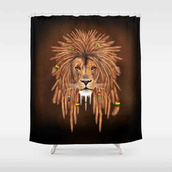Rasta Lion Dreadlock SHOWER CURTAIN Pointsalestore Society6 Showercurtain Shower Bathroom