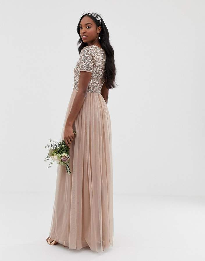 c50277348f Maya Tall Bridesmaid v neck maxi tulle dress with tonal delicate sequins in taupe  blush #neck#maxi#tulle