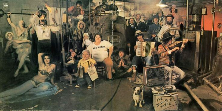 The basement tapes cover.  Bob Dylan and The Band  Recorded by Dylan/The Band    June–September 1967; Band-only recordings: 1967–1975.  The cover photograph for the 1975 album was taken by designer and photographer Reid Miles in the basement of a Los Angeles YMCA.
