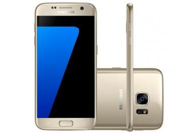 "Smartphone Samsung Galaxy S7 32GB Dourado 4G - Câm 12MP + Selfie 5MP Tela 5.1"" Quad HD Octa Core"
