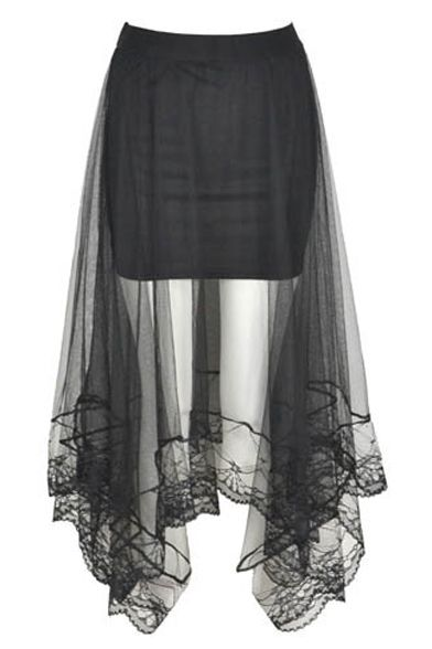 Black Mesh Insert Asymmetrical Hem Elastic Skirt                                                                                                                                                                                 More