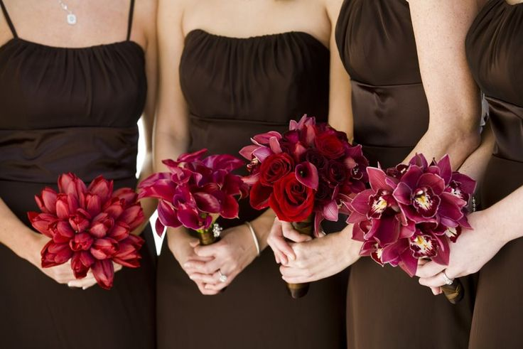 Colors That Compliment Pink Glamorous With Red Bridesmaids Bouquets with Plum Dresses Images