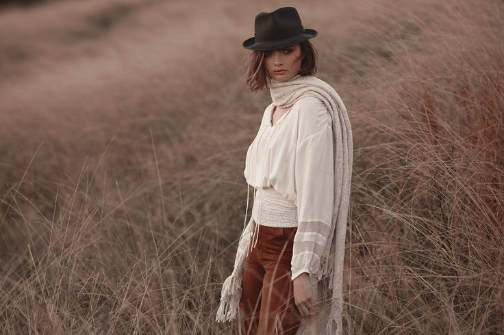 Samira Blouse in Cream with the Hand Woven Cotton Blanket Natural & the Army Pants in Tan