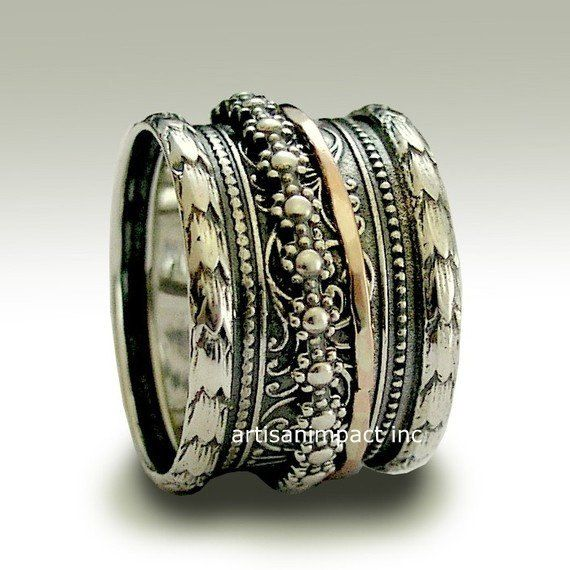 bohemian jewelry Silver band gypsy band silver gold by artisanlook