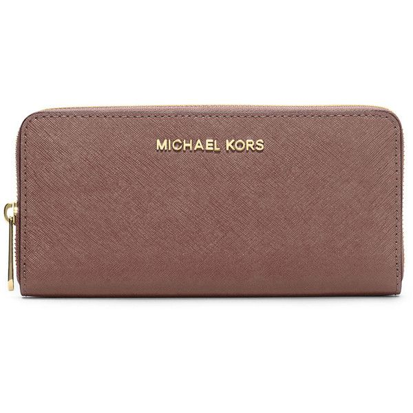 MICHAEL Michael Kors Jet Set Zip-Around Continental Travel Wallet ($138) ❤ liked on Polyvore featuring bags, wallets, dusty rose, saffiano leather wallet, brown bag, travel wallet, credit card holder wallet and michael michael kors wallet