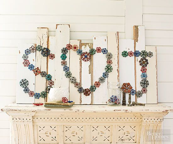 Transform a collection of colorful plumbing valves into a 3-D work of art. Arrange the valves in shapes or letters and secure to wood backing with screws. To enhance the valves' historic flavor, suspend the art on reclaimed wooden boards.Or apply the look of age to a new cut of wood with chalk paint for a backdrop that complements your home's color scheme.