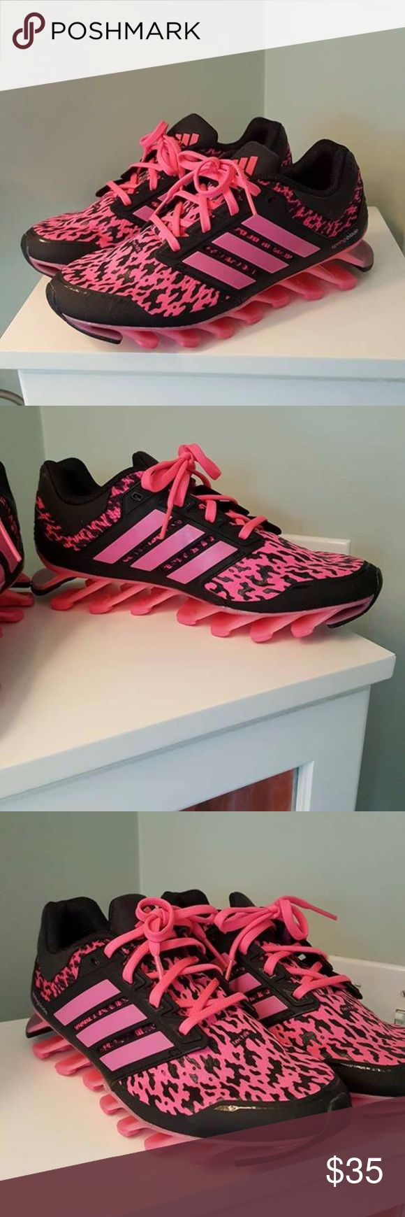 Adidas SpringBlade Sneakers Size 7.5 Pink and black Adidas sneakers. Add a little pep to your step/workout with these comfy stylish sneakers. Size 7.5, worn twice. adidas Shoes Athletic Shoes