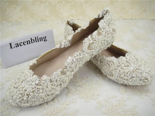 Gorgeous Handmade Wedding Shoes, Lace Bridal Shoes, Flat Lace Bridal Shoes…