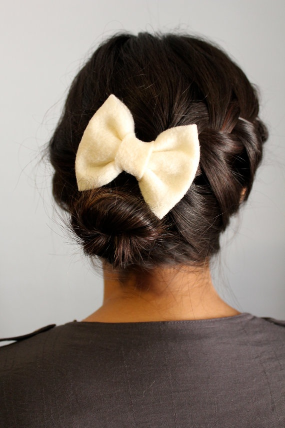Petite Party Down Cream Hair Bow - Replace the now with anything you want !