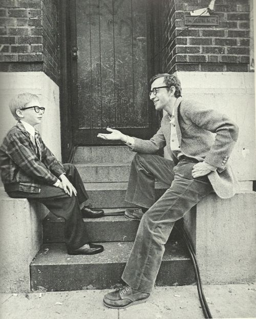 Woody Allen with little Woody Allen on the set of Annie Hall