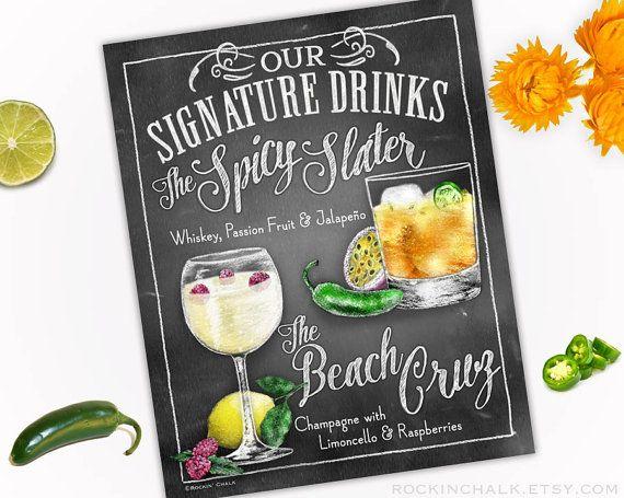 Décoration de mariage | Signe de boisson signature - boissons doubles - personnalisé mariages, Parties, événements - sur mesure - Custom tous