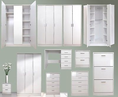2 Tone White #gloss Bedroom #furniture Set, #wardobe Chest Bedside Dressing  Table