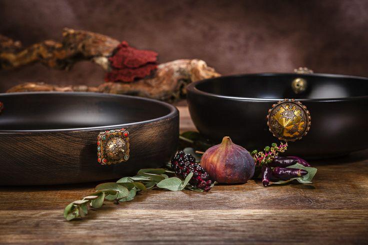 Dot design studio by Irem Carved wooden bowls with dreidels from afghanistan www.irembonfil.com