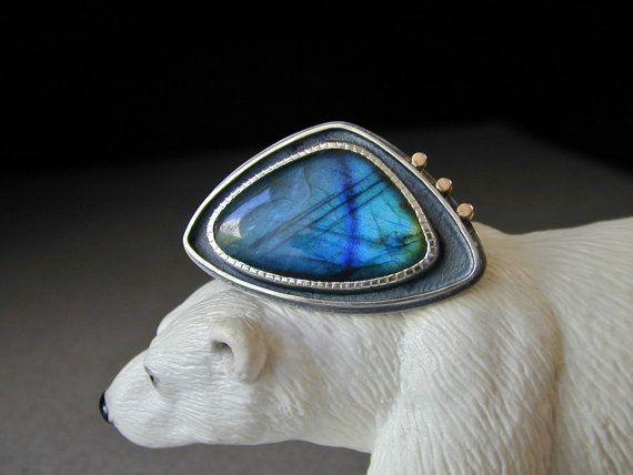 Labradorite Ring, Blue Stone Ring, Sterling Silver, 14kt Gold, Northern Lights, Large, Oxidized via Etsy