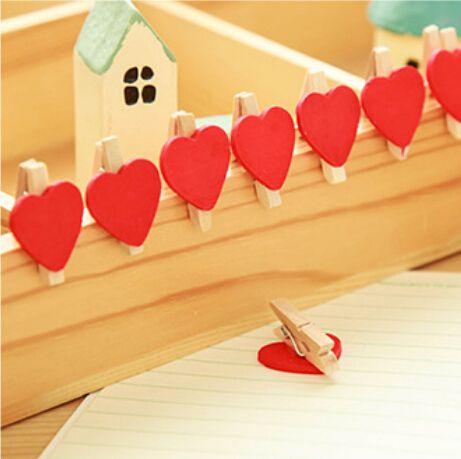12 шт./пакет мини в форме сердца любовь деревянные одежда фотобумага Peg Pin прищепка ремесло пищевая открытки клипы ремесла украшение купить на AliExpress