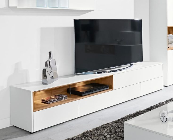 Modern TV Unit With 2 Doors And 2 Drawers In Ultra Matt White With Optional  Metal Feet