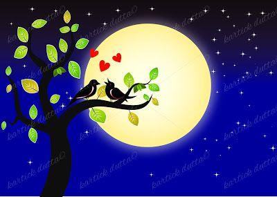 www.artfuns.in: Full moon night two bird loving movement| modern a...