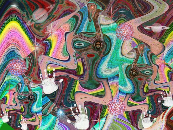 """""""Tres #aliens"""" #creacion #digital realizada con #gimp. Ver más en: www.librecreacion.net www.sirenasinmar.blogspot.com www.facebook.com/SugarherArts"""