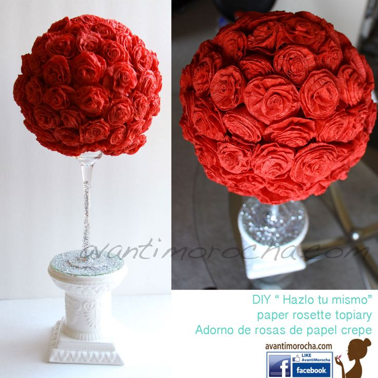 Paper Roses Topiary, Adorno de Flores de papel crepe. Total cost less than $8 :) Check my channel to watch the tutorial