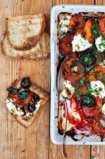 Grilled apricots, cherries, ricotta and thyme