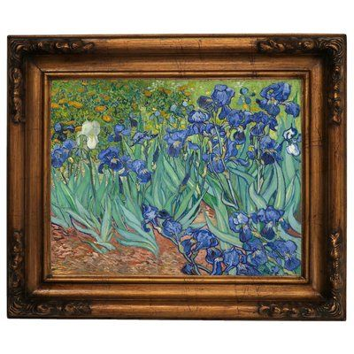 """Alcott Hill 'Irises 1889' by Vincent van Gogh Framed Oil Painting Print on Canvas Size: 15.5"""" H x 19.5"""" W, Format: Gold Frame"""