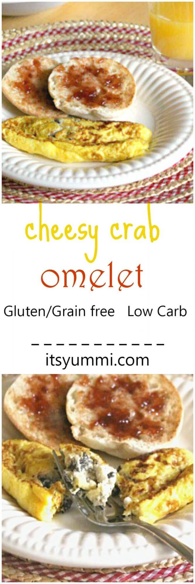 Cheesy Crab Omelet Recipe - Perfect for breakfast or brunch, this easy-to-make omelet is loaded with veggies, 2 types of cheese, and flaky crab meat. SO good! - Recipe on itsyummi.com