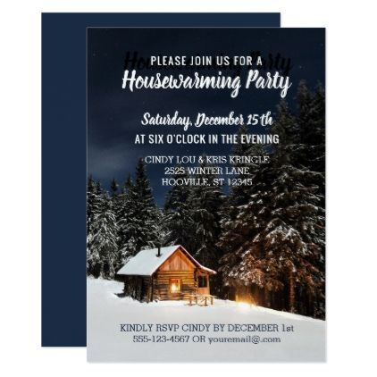 Rustic Winter Cabin Country Housewarming Party Card - invitations personalize custom special event invitation idea style party card cards