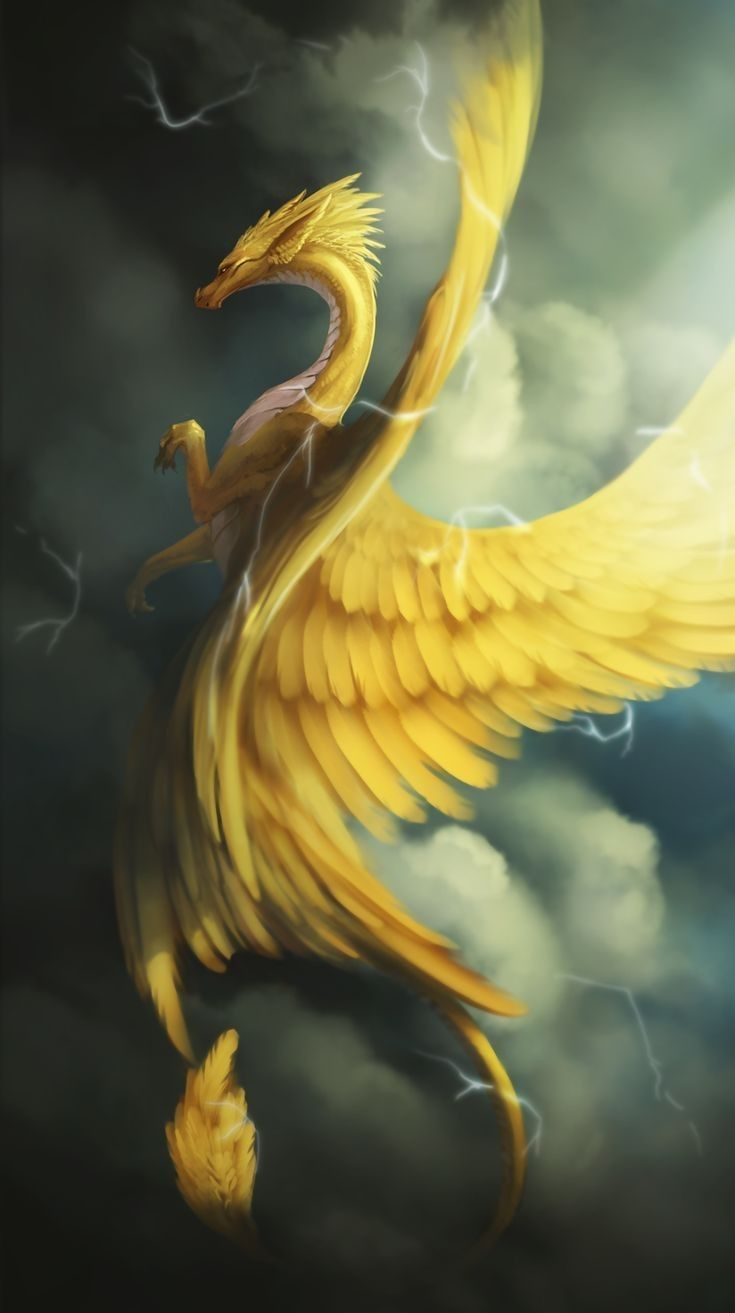 dragon art gold feathered