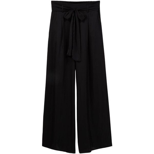 Flowy Palazzo Trousers ($12) ❤ liked on Polyvore featuring pants, lace trousers, palazzo trousers, palazzo pants, lace pants and mango pants