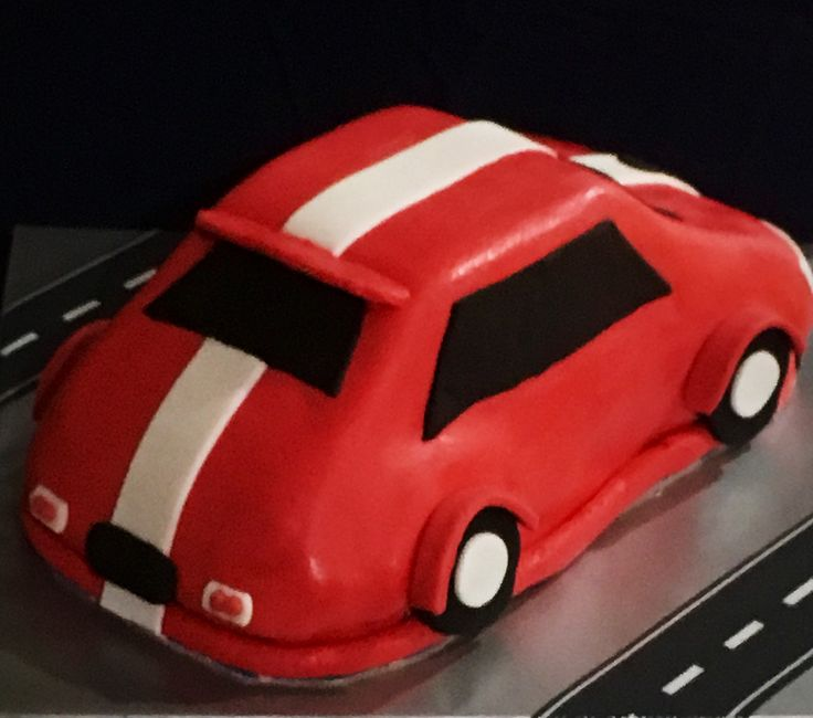 (Back) Red Race Car Birthday Cake for a little man turning 2. Chocolate Cake with Marshmallow Fondant.